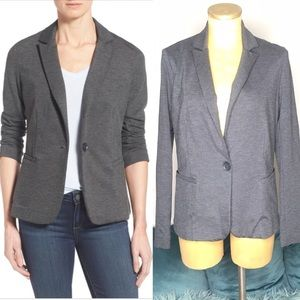 Olivia Moon gray knit blazer sz m